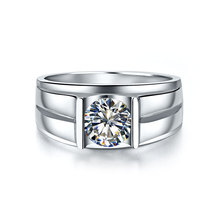 Generous Man Ring 18K White Gold Tested Positive 1CT Moissanite Diamond Solitaire Ring for Male Engagement 18K Promise