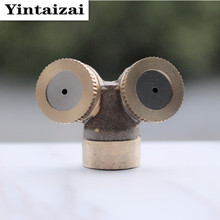 2 Head Garden Sprinklers Irrigation Brass Water Flower Misting Nozzle Fog Sprayer for Agricultural Garden Tools R204(China)