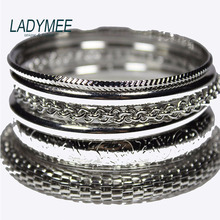 LADYMEE Bracelet Bangles Indian Jewelry Multilayers Mesh Metal Pulseras Mujer Silver Plated Bracelets for Women Fashion Jewelry