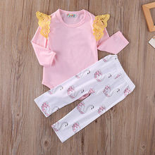Newborn Infant Baby Girl clothes set Babes clothing Swan Cotton Pink romper and pants little kids girls clothing Set(China)