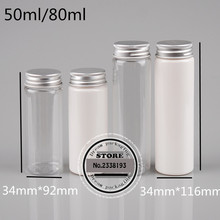 (50pcs)50ml/80ml transparent mask bath salt test PET tube with aluminum cap 50cc/80cc Empty travel cosmetic packing bottle