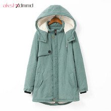 AKSLXDMMD Large size 100KG Parka 2017 New Winter Women Hooded Padded Jacket Coat Cashmere Warm Jackets and Coats Female LH467(China)