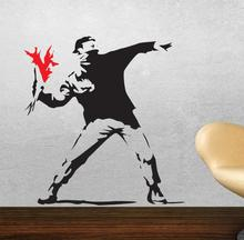 famous painter BANKSY wall stickers HOOLIGAN THROWING FLOWERS RIOT creative painting art home decal sticker(China)