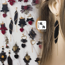 Princess sweet lolita Japanese handmade hard girl Earrings retro original LOLITA Gothic Lolita without pierced ears clip GSH136(China)