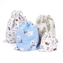 1PC Popular Simple Rural Style Cotton Linen Fabric Dust Clothes Socks/Underwear Shoes Bags Home Sundry Kids Toy Organizer Bag(China)