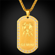 2016 Zodiac Charms GEMINI Pendant Necklace Women Jewelry Gift Rhinestone Gold Color Necklace Dog Tags For Men P1823
