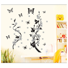 Diy Home Decor Black Butterfly Vine Flower Wall Sticker Bathroom Kitchen Refrigerator Decorative Wall Decals Stickers