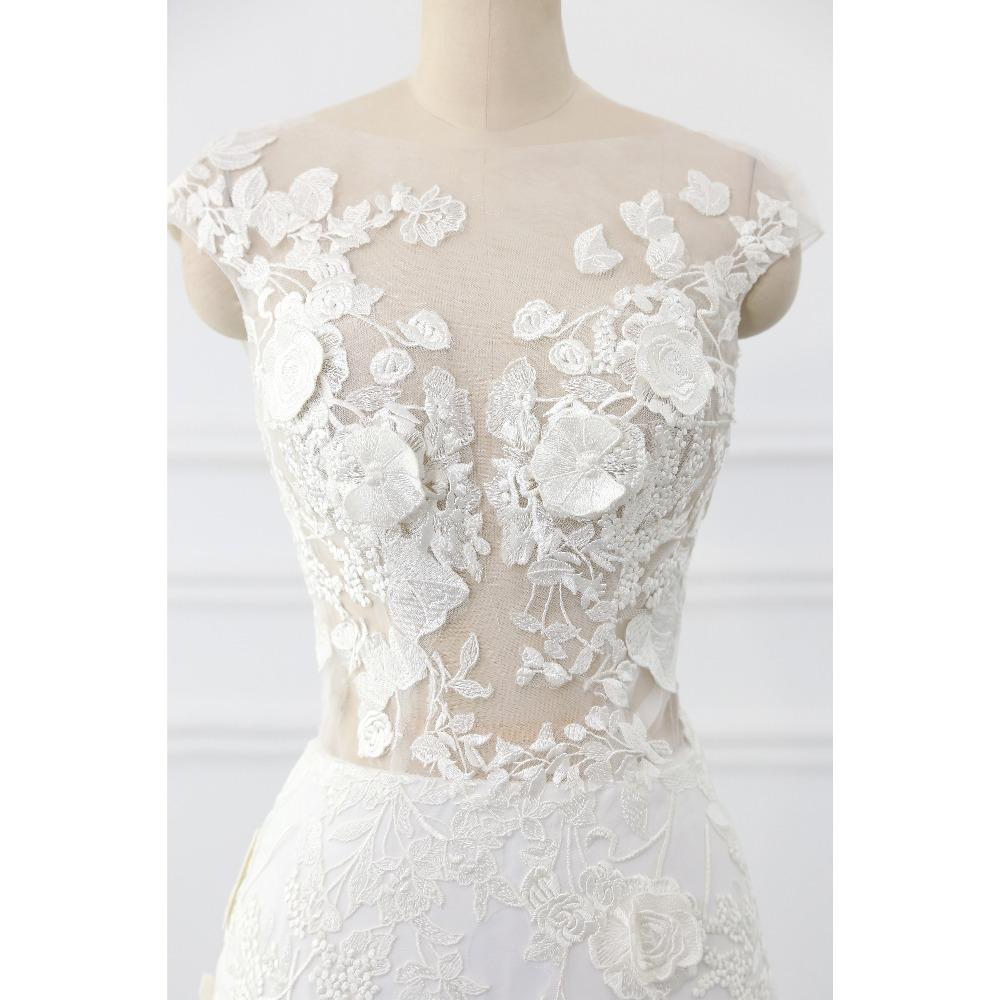 Lover Kiss Wedding Dress 2017 Vintage Mermaid Lace Appliques Bead Robe de Mariage Sexy Back Bride Dresses Vestido de Noiva 4