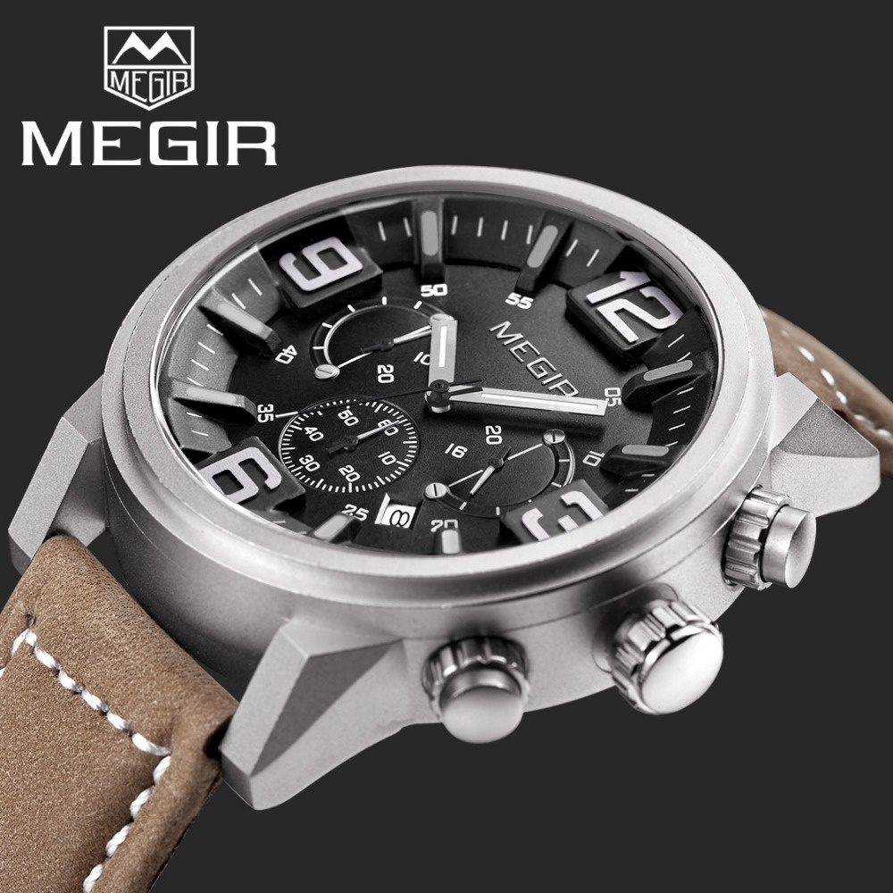 MEGIR Chronograph Casual Watches Men Luxury Brand Military Sport Quartz Watch Genuine Leather Mens Wristwatch relogio masculino<br>