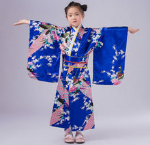 Child Silk Print Floral Peacock Dress Robes 2017 Japanese Girls Kimono Children Portray Kids Perform Dance Costumes