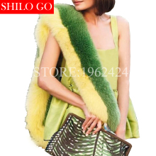 2017 winter fashion women high-quality lemon grass green hit color whole fox fur white fox color spell color fur scarve shawl(China)