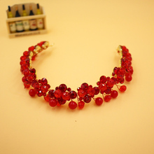 Red Real Adult Bridal Accessories Cheap Modest Beads Crystal Fashion Hair Wear Ladies Elegant Hair Fascinator
