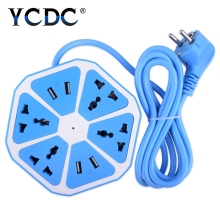 YCDC Extended Powercube USB Socket EU Plug 4 Outlets 4 Ports Power Adapter Extension Cable Multi Switch Socket Strip EU