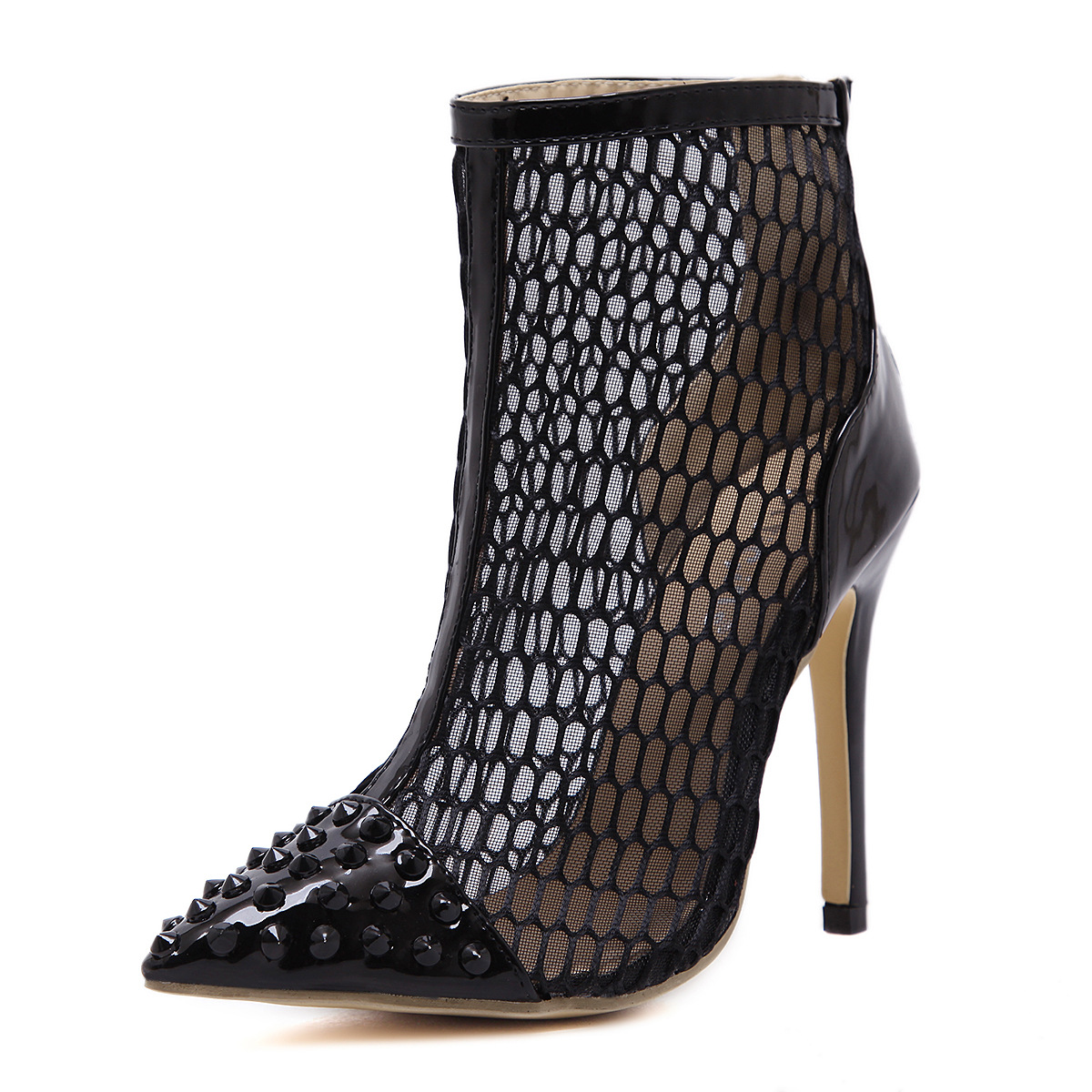 Catching Fashion Sexy Round Toe Net Pu Leather Thin Heels Black Pumps Shoes For Womens Pumps Slip-on Wedding Flock Shoes<br>