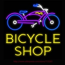 Neon Sign Bicycle Shop Bike Real Glass Tube Handcrafted neon signs Custom LOGO Sports Neon Lamp Recreation Windows Signs 24x24(China)
