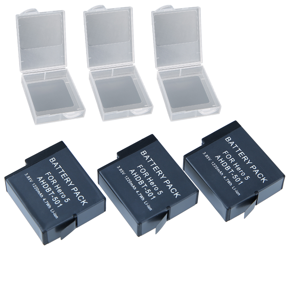 3Pcs 1220mAh Gopro5 battery Gopro hero 5 Rechargeable Replacement batteries for Go Pro 5 gopro hero 5 camera AHDBT 501 AHDBT-501<br><br>Aliexpress