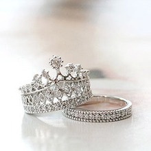 1 Set New Fashion Queen Party All-match Sweet Piece Crown Moldings Ring Color Silver Plated RING-0364