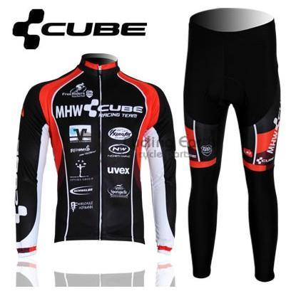 2013 NEW!!! CUBE #1 Winter long sleeve cycling jerseys+pants bike bicycle thermal fleeced wear set+gel pad<br><br>Aliexpress