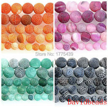 Natural Stone Frost Spider Web Black Purple Green Orange Agat Round Loose Beads 6 8 10 12MM Pick Size For Jewelry Making(China)