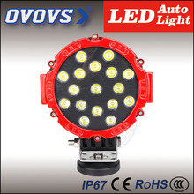 "1Pcs ovovs Wholesale prices black/red housing 7"" off road led work light 51w driving light 12v for trucks vehicle cars 4x4 ATV"