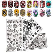 BORN PRETTY Nail Stamping Plate Floral Girl Restaurant Rectangle Template Manicure Nail Art Stamp Image Plate
