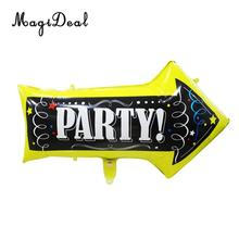 MagiDeal Brand New 1Pc Supper Shape Chalkboard Party Arrow Jumbo Foil Balloon for Wedding Hen Night Party Supplies Black 50x82cm(China)