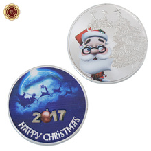 WR Christmas Cute Santa Claus Silver Plated Metal Coin Commemorative Rare Silver Coin Gifts Merry Christmas Souvenir(China)