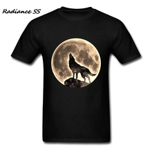 Brand Clothing T-Shirt Popular Howling Wolf t shirt Full Moon Short Sleeve Man Clothing Plus Size(China)