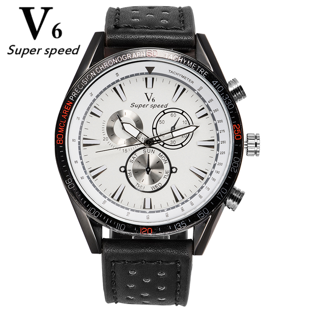 V6 Mens Exquisite brand watches genuine leather strap watch big dial casual fashion quartz watch high quality gift watches sell<br><br>Aliexpress