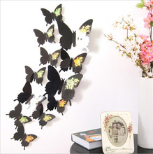 Hot 3D Butterfly Wall Decals Multicolor PVC Wall Stickers For TV Wall Kids Bedroom Wall Home house Decoration(China)