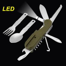 Multifuction Outdoor Foldable Spork Spoon Fork LED Light Camping Picnic