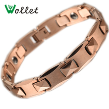 Wollet Health Energy Rose Gold Bio Solid Germanium Plus Circle Hematite Men Energy Magnetic Tungsten Bracelets For Women(China)