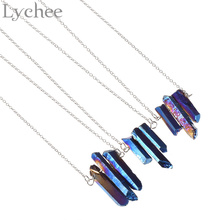 Lychee  3 Irregular Crystal Pendant Necklaces Silver Chain Quartz Stone Necklace Jewelry for Men Women Random Color