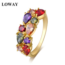 LOWAY  Gold Color New Fashion Women Vacation Rings AAA Cubic Zirconia Lady Finger Ring Professional Jewelry Factory JZ5878