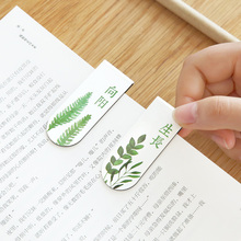 4pcs Hand-painted plant art, magnetic bookmark, mini book clip school stationeries