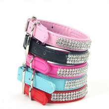 Dog Collar PU Leather Collar Bling Rhinestone Diamante Pet Puppy Cat Necklace Black Red Pink Blue Rose Harness(China)