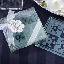 DHL free shipping 20sets/lot wedding favors gifts Crystal Snowflack tempered glass Coaster Set(1set=2pcs)
