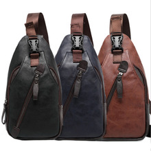 New Men PU Leather High Quality Travel Cross Body Messenger Shoulder Fashion Casual Sling Pack Chest Bag