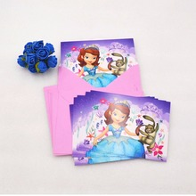 6pcs/bag Disney sofia Princese Invitation Card CartoonTheme Party For Kid Birthday Decoration Party Supplies Xmas Festival Pink(China)