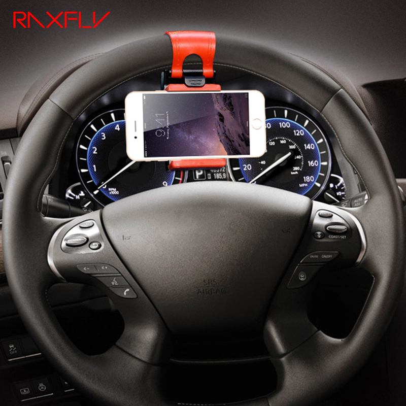 RAXFLY Universal Steering Wheel Navigation Car Socket Holder For iPhone 7 6 6s Plus 5 5s SE Samsung Galaxy S5 S6 S7 Edge Case(China)