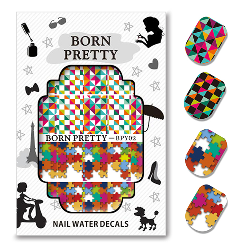 5 Sheets BORN PRETTY Geometry Figure Nail Art Water Decals Transfer Sticker BPY01-05<br><br>Aliexpress