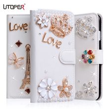 For iPhone 6s Plus Luxury Wallet Stand Flip PU Leather Bling Diamond Bowknot Case Flower Cover For iPhone 6 Plus Handmade Cover(China)
