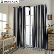 Stripe Jacquard  fabric full black out blinds window curtains for livingroom light bedroom process finished size black red