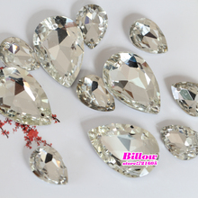 All Sizes Glass Pointback Sew On Rhinestone Teardrop Droplet Pearl Shape With 2 Holes Sewing Stone For Wedding Dress B1039
