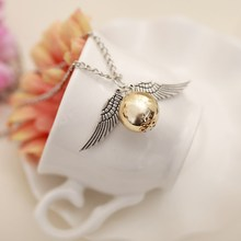 2017 Fashion Fashion Necklace Retro Style Crystal Angel Wing Charm Golden Doraemon Necklace Men's Necklace Stainless Steel Chain(China)