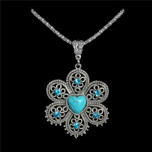 Wholesale Antique Silver Pendant Necklace Crystal Natural Stone Flower Necklace Sweater Chain TL188 FREE SHIPPING