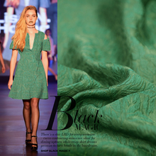 Deep Green 3d Embossed Cloth Metallic Silk Cotton Jacquard Fabrics(China)