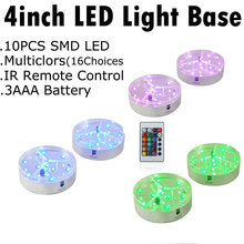 Free shipping! 10pcs/lot  Super Bright 9pcs RGB LED 4inch LED VASE Light Base For Light UP Glass Cup wedding Decoration