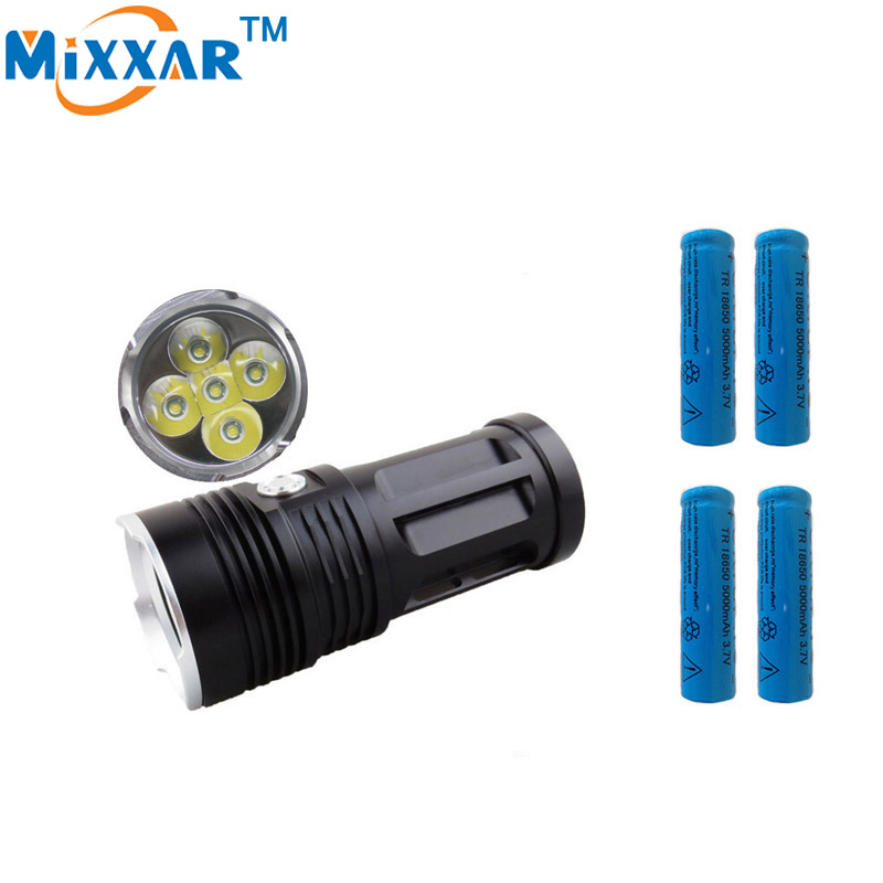 zk30 MI-5 10000LM Torch 5x Cree XM-L T6 tactical led flashlight torch and 4x18650 5000mAh battery Can be used for Camp Hunting<br>