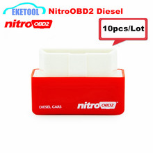 10pcs/Lot Save Fuel OBD2 Interface Diesel Cars Auto Chip Tuning Nitro OBD2 Your Own Driver NITROOBD2 Red Free Shipping